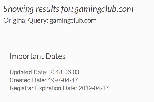 GamingClub.com Registration Date