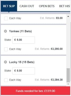 Horse Racing Cover Bets Yankee Lucky 15
