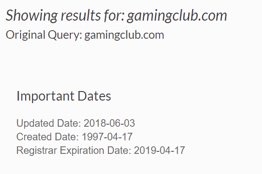 GamingClub.com Registration Date