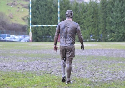 Muddy Rugby Player Abandoned Game