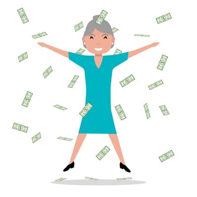 Old Lady Jumping in Money Cartoon
