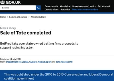 Betfred Government Tote Sale
