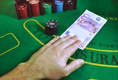 500 Euro Note on Blackjack Table