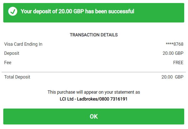 Ladbrokes Revolut Debit Card Transaction