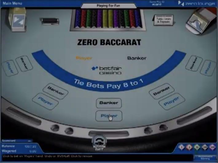 Betfair's Zero Baccarat