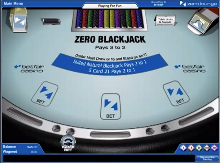 Betfair's Zero Blackjack