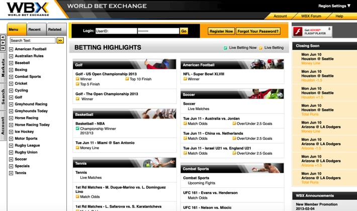 World Bet Exchange Screenshot