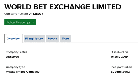 World Bet Exchange Limited Companies House