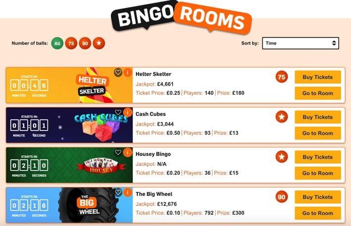 Betfair bingo rooms