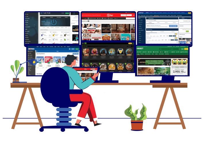 Gambling Sites on Multiple Computer Screens