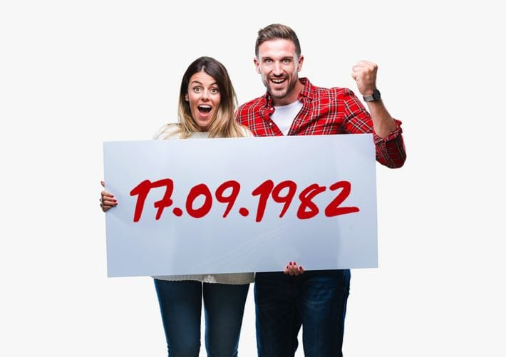 Couple choosing their own lottery numbers