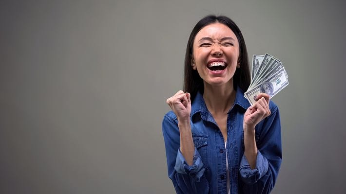 Excited lottery winner