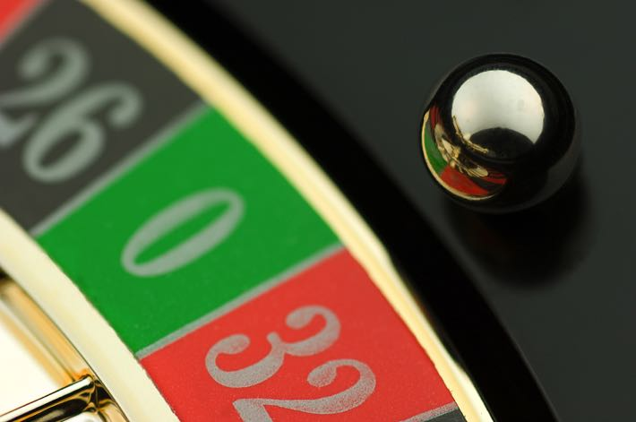 Roulette ball on zero