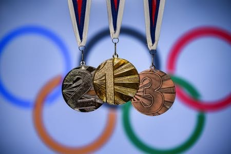 Olympic rings and medals
