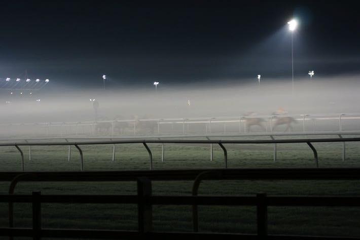 Kempton Racecourse at night