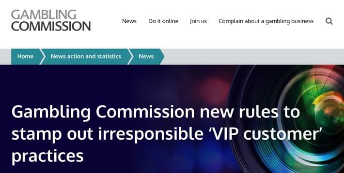 UKGC New Rules on Irresponsible VIP Schemes