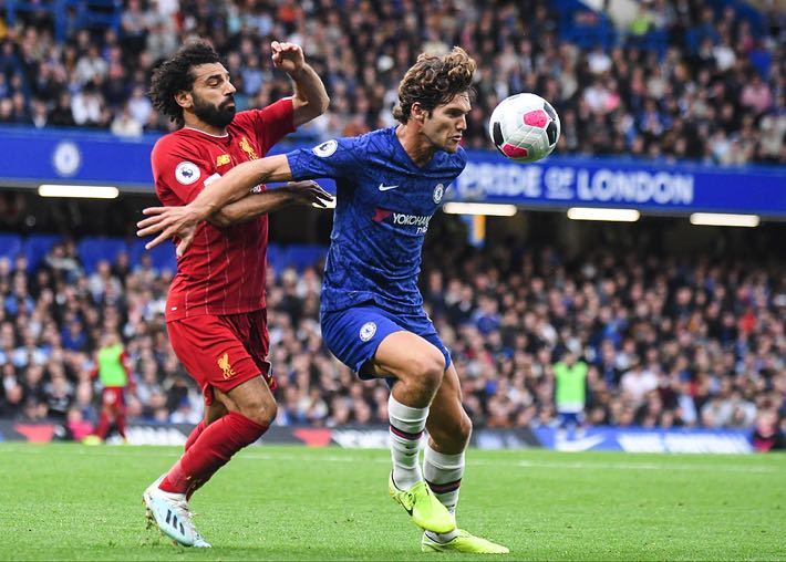 Mohamed Salah of Liverpool & Marcos Alonso of Chelsea