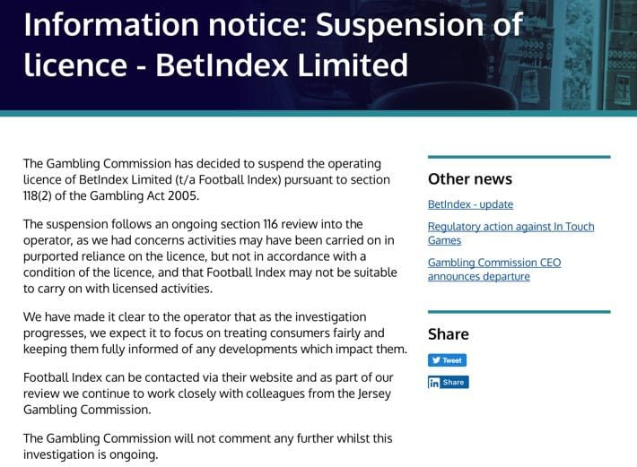 Gambling Commission Suspends BetIndex Limited