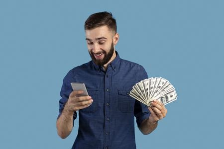 Man winning bet