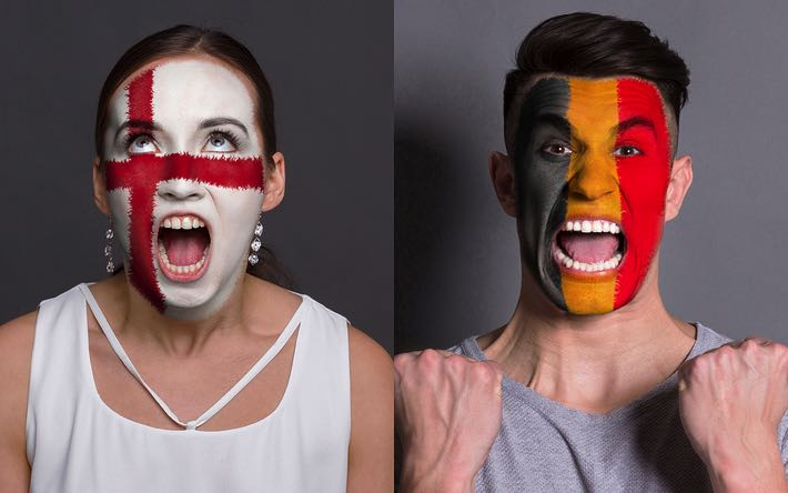 England & Belgium fans