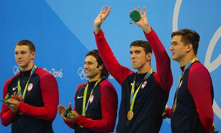 Ryan Murphy, Cory Miller, Michael Phelps and Nathan Adrian