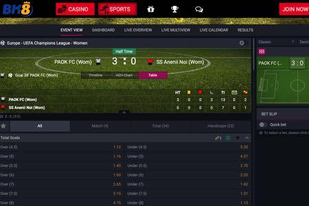 BK8 sports gambling website screenshot