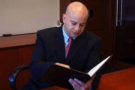 Man checking regulations