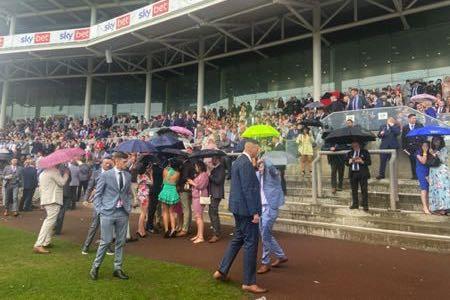 Rain clouds at racecourse