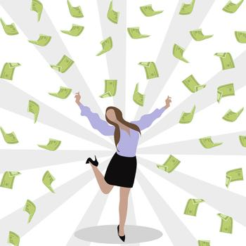 Woman winning loads of money
