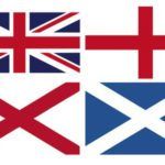 England, Scotland, Wales flags